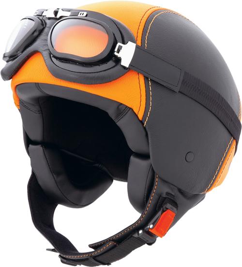 Casco moto Caberg Century in pelle,occhiali inclusi nero-arancio