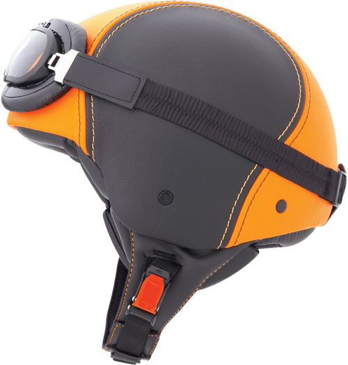 CABERG Century jet helmet leather, goggles included  black-orang