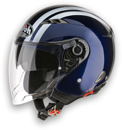 Casco moto Urban Jet Airoh City One Flash blu scuro lucido