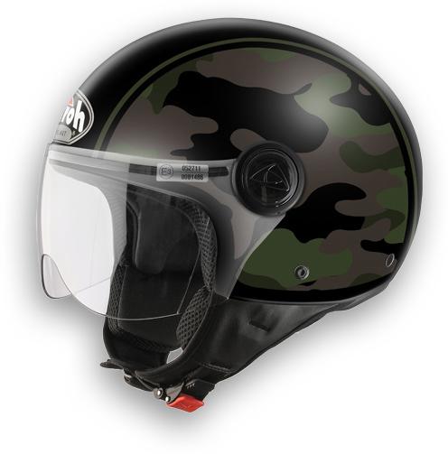 Casco moto Airoh Compact Military verde lucido