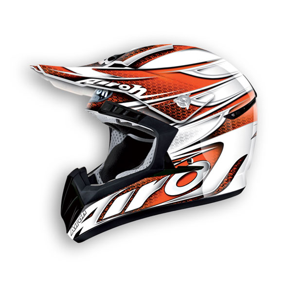 Casco cross Airoh CR901 Linear Arancio Bianco