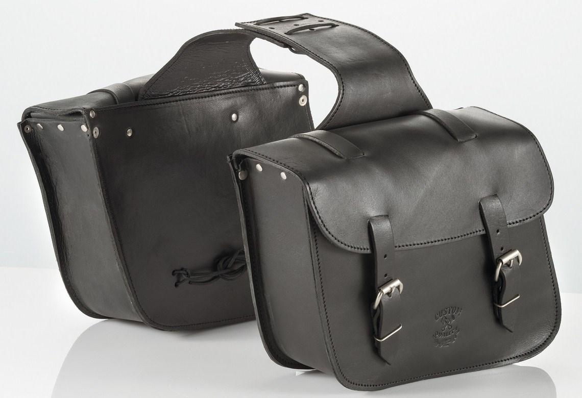 Pair leather saddlebags Kappa