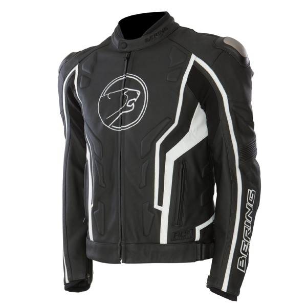 Approved leather motorcycle jacket Bering Flash Black White