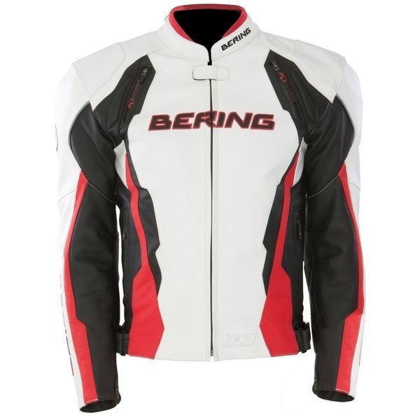 Approved leather motorcycle jacket Bering Kingston Black White R