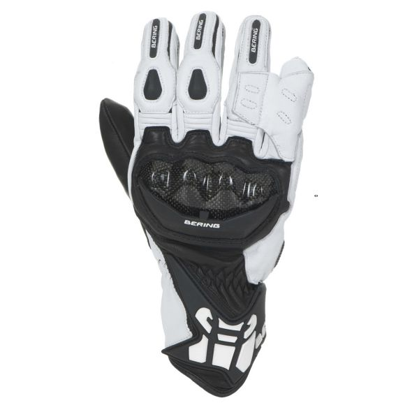 Leather motorcycle gloves approved Bering Zaius Black White