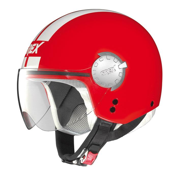 Helmet demi jet Grex DJ1 City Stripes glossy red