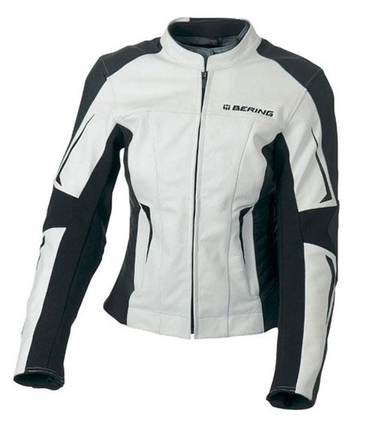 Giacca moto donna pelle Omologata Bering Eclipse Nero Bianco