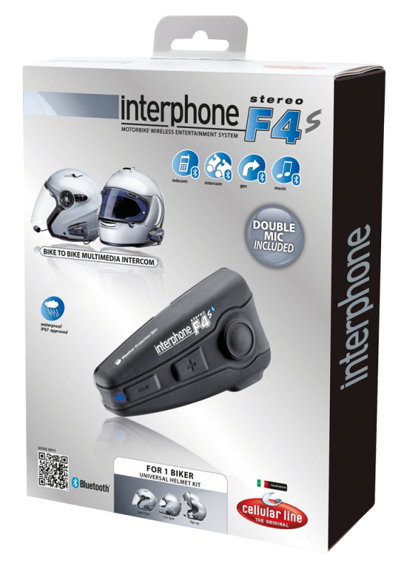 Interfono F4S Stereo Bluetooth - kit singolo Cellular Line