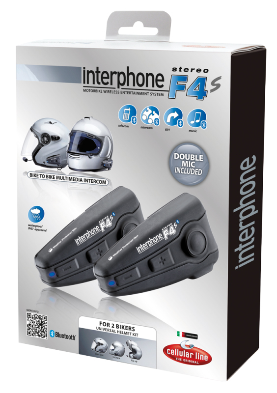 Coppia di interfoni Bluetooth F4S Plus per 2 caschi moto-moto