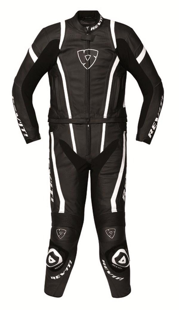 Leather biker motorcycle jacket Rev'it Warrior Black White