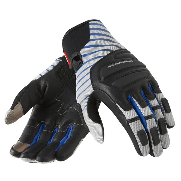 Leather motorcycle gloves Rev'it Summer Neutron Silver Blue