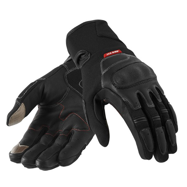 Leather motorcycle gloves Rev'it Summer Striker Black