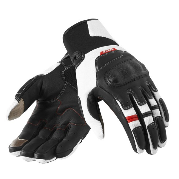 Leather motorcycle gloves Rev'it Summer Striker Black White