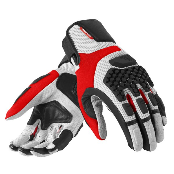 Leather motorcycle gloves summer Rev'it Sand Pro Silver Red