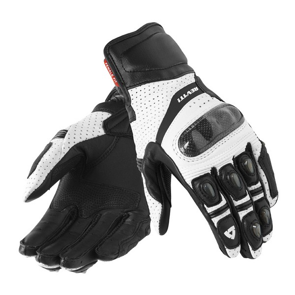 Woman leather motorcycle gloves Rev'it Summer Chevron White