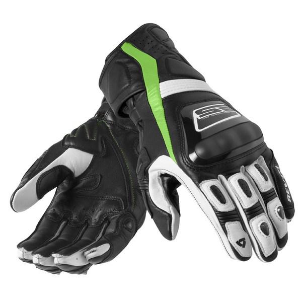 Leather motorcycle gloves Rev'it Summer Stellar Black Acid G