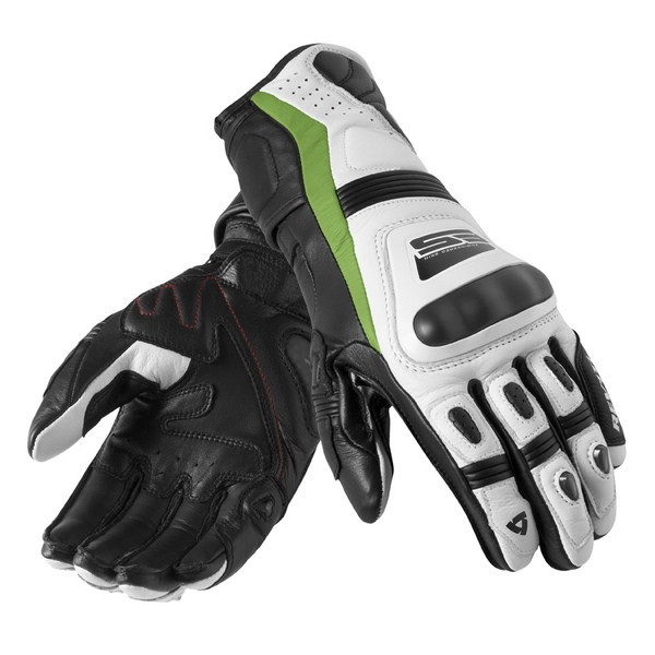 Leather motorcycle gloves Rev'it Summer Stellar White Green