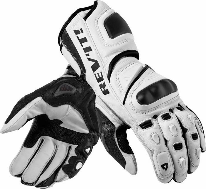 Guanti moto pelle Rev'it Jerez Pro bianco nero