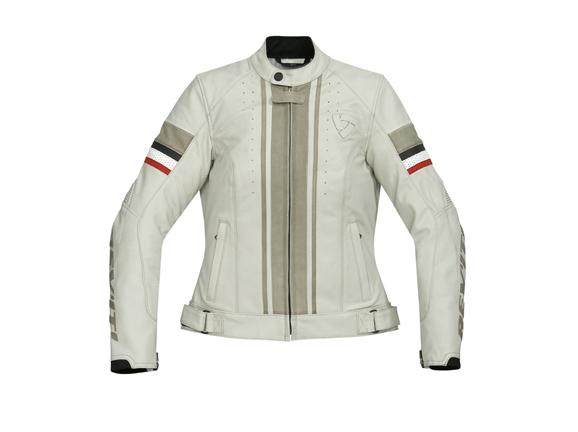Giacca moto donna in pelle Rev'it CR Ladies  Panna-Titanio
