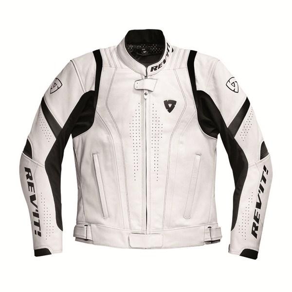 Giacca moto pelle Rev'it Warrior Bianco Nero