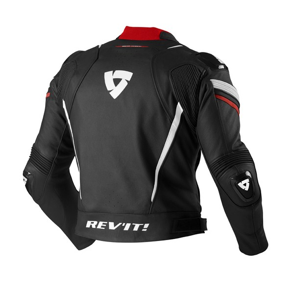 Leather motorcycle jacket Rev'it Stellar Black Red