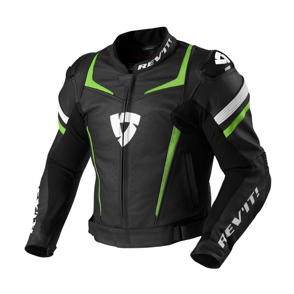 Giacca moto pelle Rev'it Stellar Nero Verde Acido