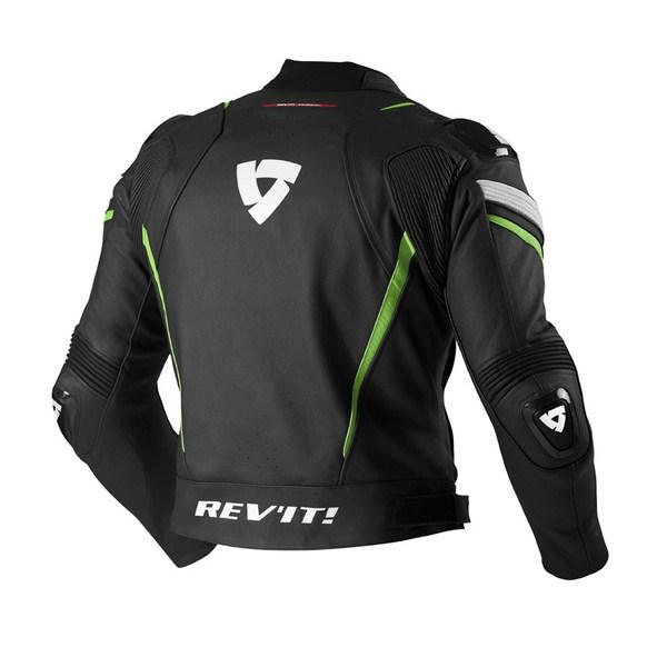 Leather motorcycle jacket Rev'it Stellar Black Acid Green