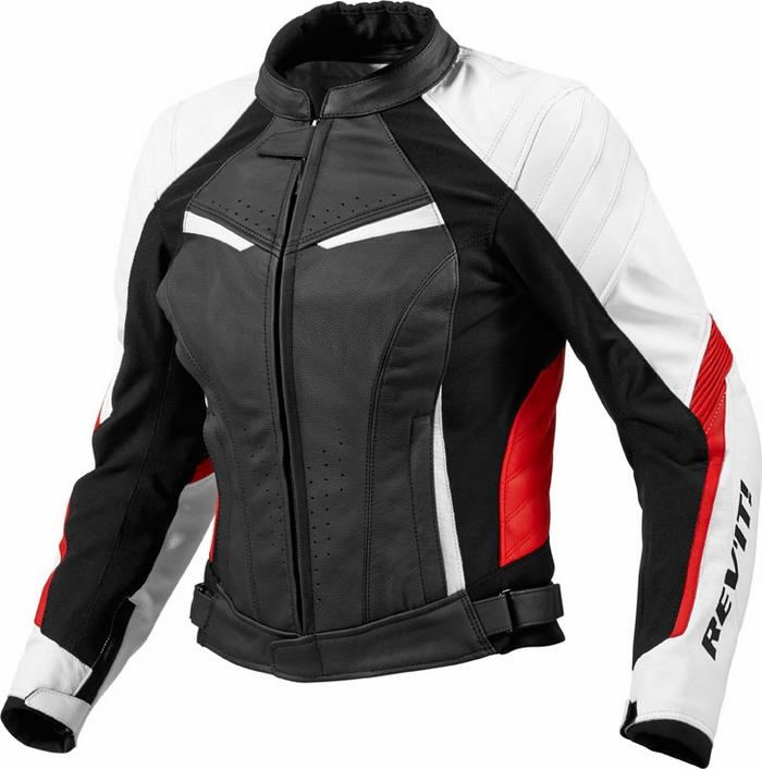 Rev'it Xena Ladies leather jacket white red