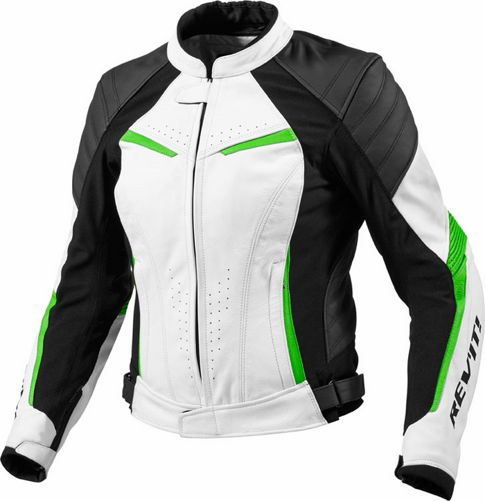 Giacca moto donna pelle Rev'it Xena Ladies bianco verde