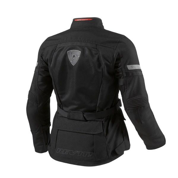 Black woman motorcycle jacket Rev'it Levante