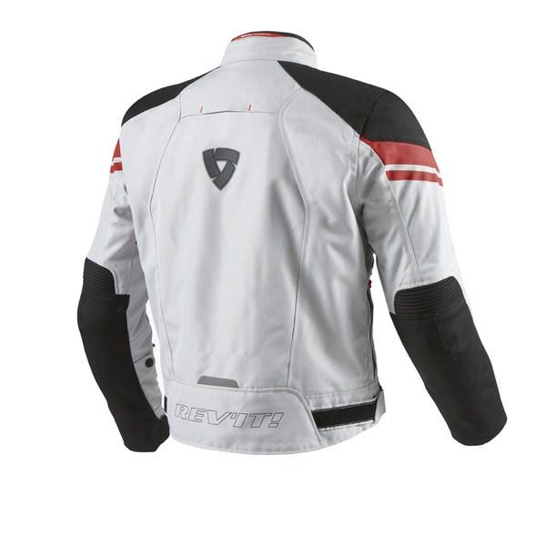 Motorcycle jacket Rev'it Excalibur Silver Red
