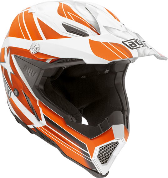 Agv AX-8 Evo Multi Flagstars off-road helmet white-orange