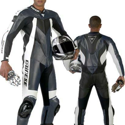 Dainese Flanker leather suit carbon-white black