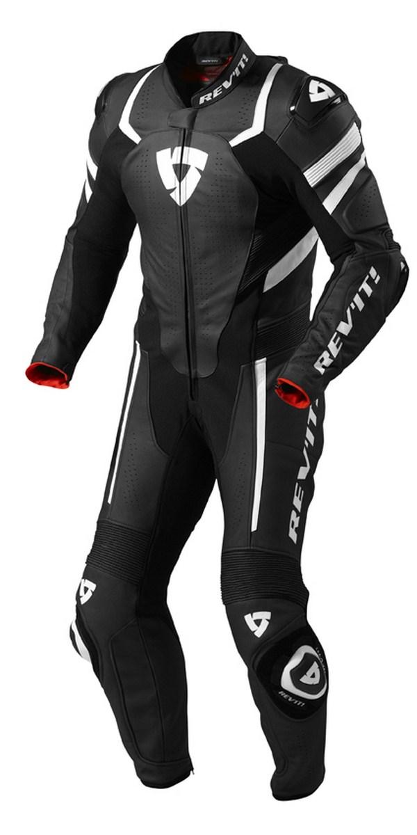 Leather biker motorcycle jacket Rev'it Hunter Black White