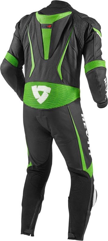 Tuta moto pelle intera Rev'it GT-R nero verde