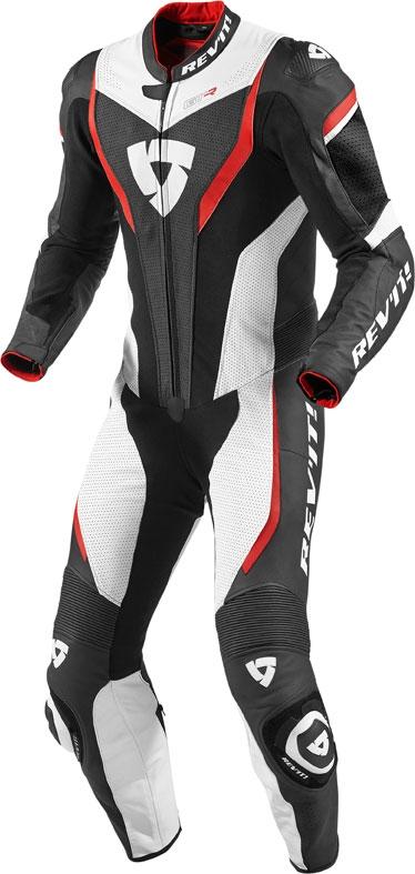 Tuta moto pelle intera Rev'it GT-R bianco rosso