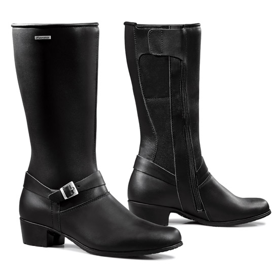 Woman leather motorcycle boots Forma Ivory Black