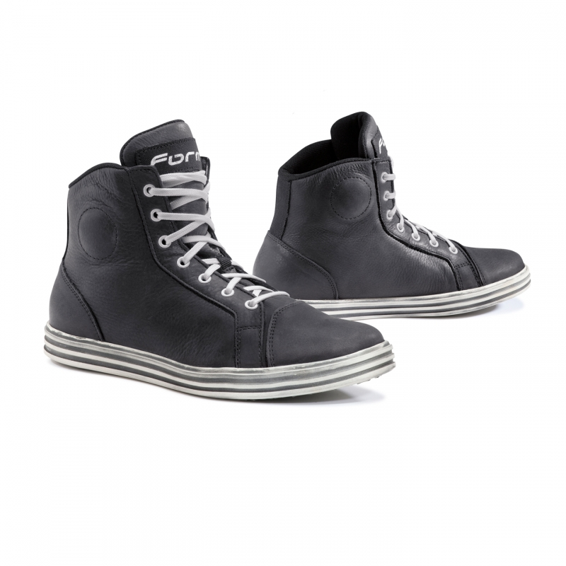 Motorcycle Leather Shoes Black White Dry Forma Slam