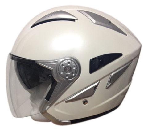Casco jet con visierino parasole Motocubo Sun Bianco perla