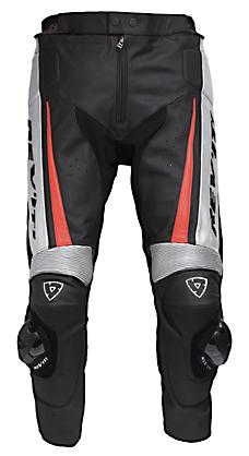 Pantaloni moto in pelle Rev'it GT uomo nero-rosso
