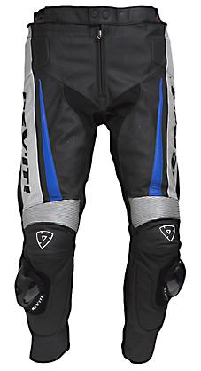 Pantaloni moto in pelle Rev'it GT uomo nero-blu