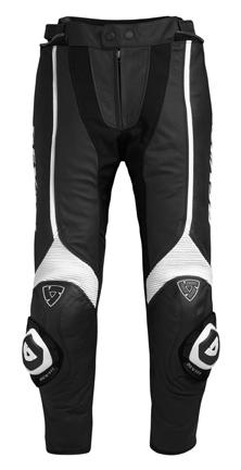 Pantaloni moto donna pelle Rev'it Raven Nero-Bianco-Accorciato