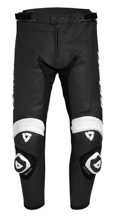 Pantaloni moto in pelle Rev'it Tarmac Nero-Bianco - Allungato