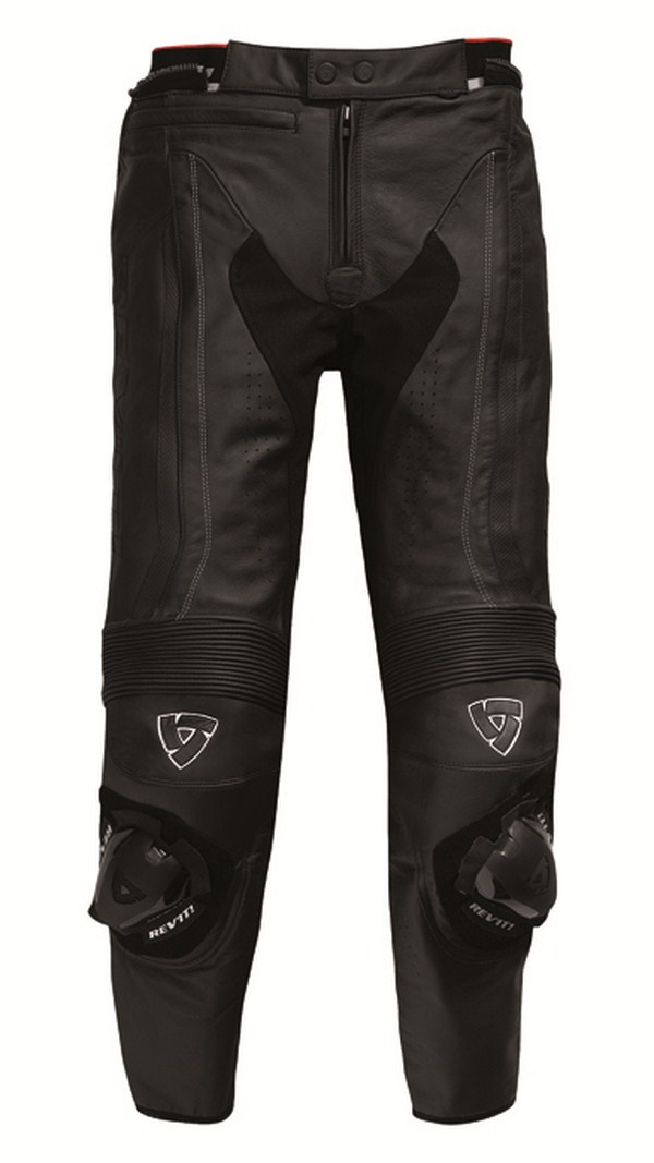 Pantaloni moto pelle Rev'it Warrior Nero - Allungato