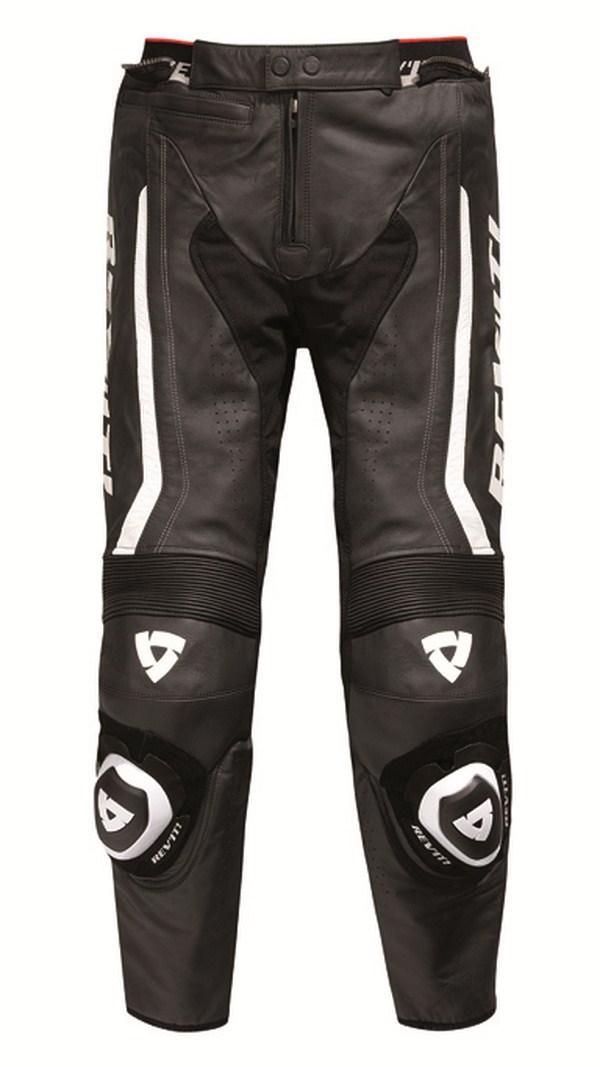 Pantaloni moto pelle Rev'it Warrior Nero Bianco - Accorciato