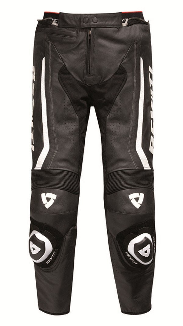 Leather motorcycle pants Rev'it Warrior Black White - Elonga