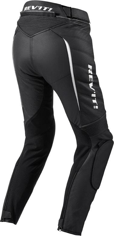 Pantaloni moto donna pelle Rev'it Xena Ladies nero-bianco accorc