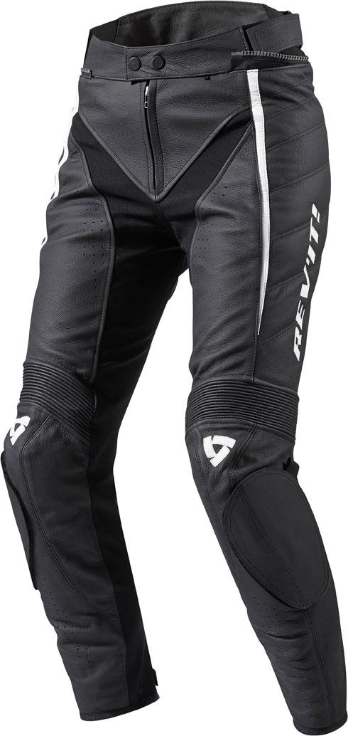 Pantaloni moto donna pelle Rev'it Xena Ladies nero-bianco allung