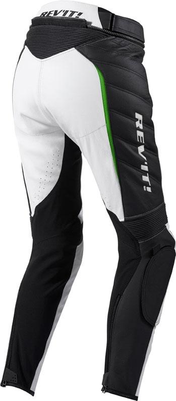 Pantaloni moto donna pelle Rev'it Xena Ladies Bianco verde accor