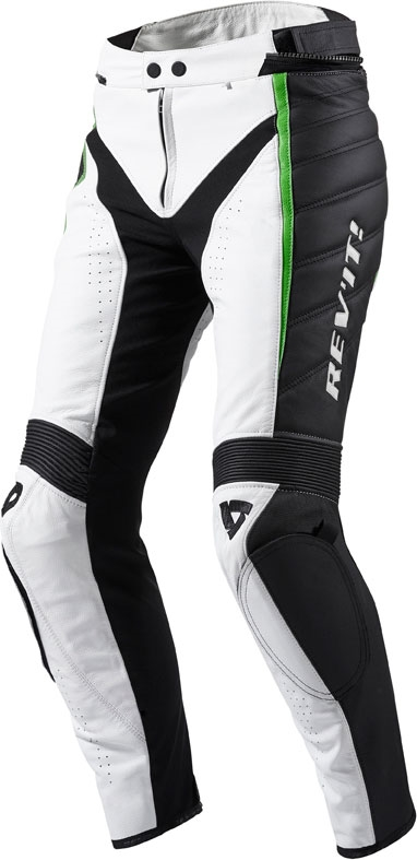 Pantaloni moto donna pelle Rev'it Xena Ladies Bianco verde allun